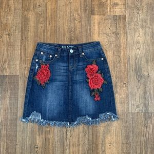Grace Denim Distressed Skirt W/ Patches Size L